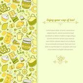 Vector tea illustration for template card — Stock Vector