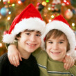 Boy Wearing Christmas Hats — Stok fotoğraf