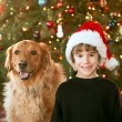 Boy and Dog at Christmas — Stock Photo