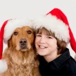 Boy and Dog at Christmas — Stock Photo #34265179