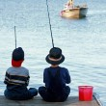 Boys Fishing — Stock Photo