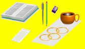 Office supplies 3D. — Stock Vector
