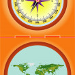 Compass with a map — Stock Vector