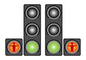 Red pedestrian traffic lights — Stock Vector