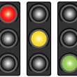 Traffic light three-colored — Stock Vector