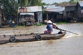 Vietnamese women rides the boat at Mekong Delta, South Vietnam — Stock Photo