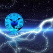 Stock Photo: Time and lightning