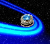 Sapphire ring in space — Stock Photo