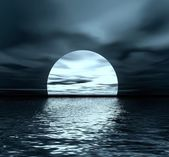 Moon and sea — Stockfoto