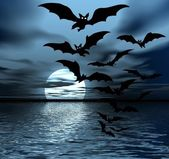 Moon and bats — Stockfoto