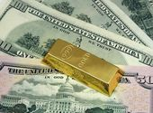 Money and gold — Stock Photo