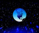 Blue planet Earth and stars — Stock Photo