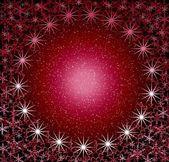 Christmas rosy round snow frame. — Stock Photo