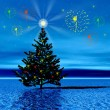 Landscape with Christmas tree — Stock Photo