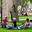 Children on grass-plot in park, Brussels, Belgium. — Foto Stock