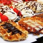 Belgian : baking - tasty waffles — Stock Photo