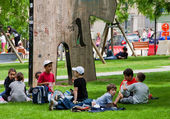 Children on grass-plot in park, Brussels, Belgium. — Stock Photo