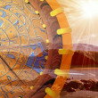 Compass and sunny rays — Stock Photo