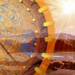 Compass and sunny rays — Stockfoto