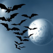 Stock Photo: Halloween. Moon and bats