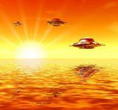 Ufo e sol — Fotografia Stock