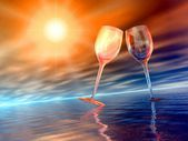 Two wedding glasses at sunset — Stock Photo