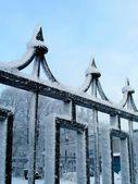 Winter cast-iron fence — Stok fotoğraf