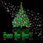 Christmas tree with stars — Stock Photo