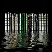 3D city reflection in water — Stock Photo