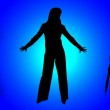Silhouettes of business ladies — Stock Photo