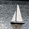 Boat model in river — Stockfoto