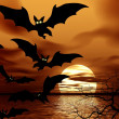 Stock Photo: Moon and bats