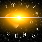 Twelve symbols of the zodiac over sun light — Stock Photo
