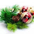 Fir tree with christmas decor — Stockfoto
