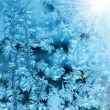 Frosty natural pattern on winter window — Foto Stock