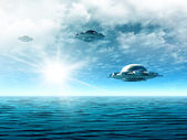 Landscape with UFO — Stock Photo