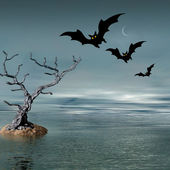 Halloween picture with bats — Stock Photo