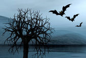 Foggy picture with bats — Stock Photo