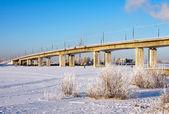 Winter river, bridge — Stock Photo