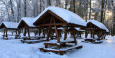 Wooden pavilion in forest — Stock Photo
