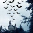 Halloween. Night. Moon, castle and bats. — Stock Photo