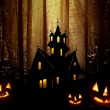 Halloween. Night. Castle and pumpkins. — Stock Photo #36019493