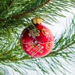 Glass ball on christmas tree — Stock Photo #36019727