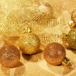 Christmas golden balls — Stock Photo