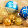 Golden and blue Christmas balls — Stock Photo
