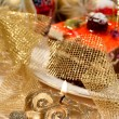 Christmas decorations and food — Stock Photo