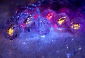 Christmas decorations in neon light — Zdjęcie stockowe