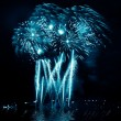 Blue festive fireworks — Stock Photo