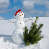 Snowman in Santa cap — Stock Photo