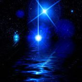 Blue background with water and stars at night — Stock Photo